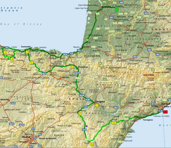 Spain North Coast Travel Route